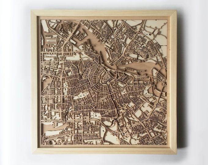 Amsterdam Wooden Map -Pinewood  Laser Cut Wood Streets City Maps 3d Framed Minimal Minimalist Wall Art - Birthday Christmas Wedding Gift