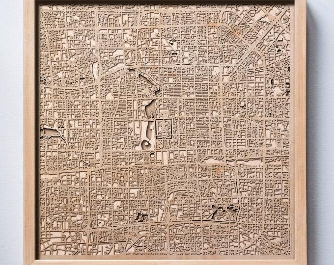 Beijing Wooden Map - Pinewood Laser Cut Streets City Maps 3d Framed Minimal Minimalist Wall Art Wood - Birthday Christmas Wedding Gift
