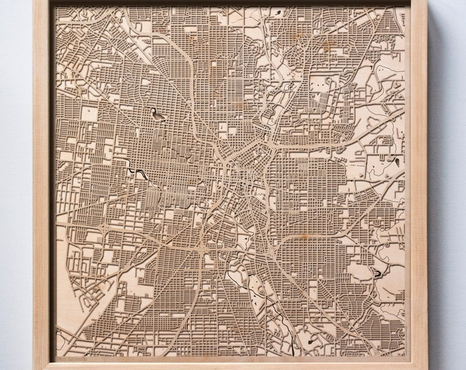 San Antonio Wooden Map -Laser Cut Wood Streets City Maps 3d Framed Minimal Minimalist Wall Art - Birthday Anniversary Christmas Wedding Gift
