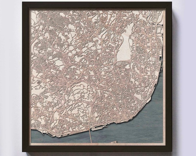 Lisbon Wood Map - 5th Anniversary Gift - Custom Wooden Map Laser Cut Framed Maps Wall Art - Wedding Engagement Gift for Couple