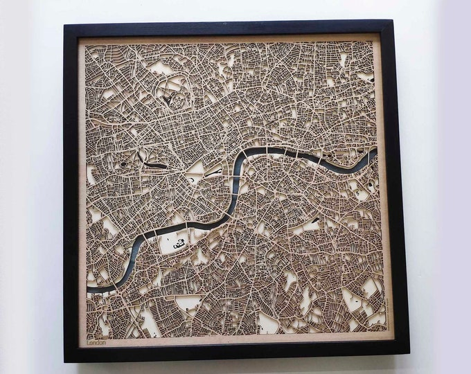 London Wood Map - 5th Anniversary Gift - Custom Wooden Map Laser Cut Framed Maps Wall Art - Wedding Engagement Gift for Couple