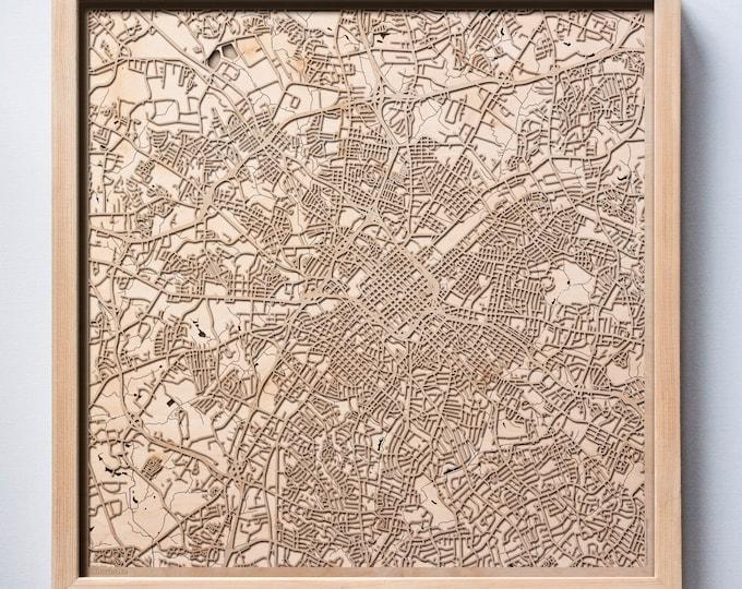 Charlotte Wooden Map -Laser Cut Wood Streets City Maps 3d Framed Minimal Minimalist Wall Art - Birthday Anniversary Christmas Wedding Gift