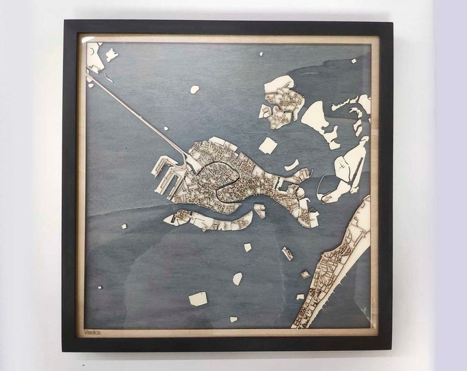 Venice Wood Map - 5th Anniversary Gift - Custom Wooden Map Laser Cut Framed Maps Wall Art - Wedding Engagement Gift for Couple