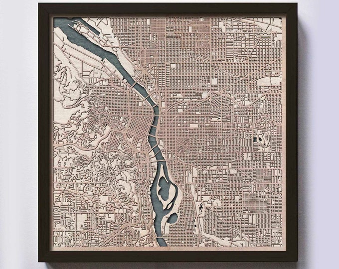 Portland Wood Map - 5th Anniversary Gift - Custom Wooden Map Laser Cut Framed Maps Wall Art - Wedding Engagement Gift for Couple