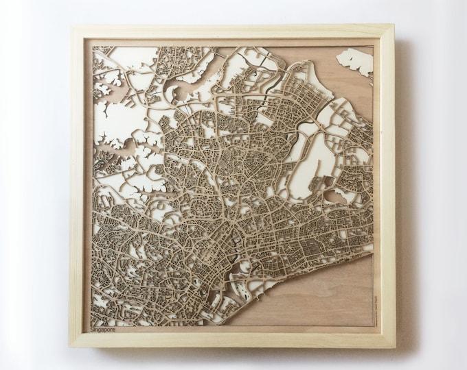 Singapore Wooden Map -Laser Cut Wood Streets City Maps 3d Framed Minimal Minimalist Wall Art - Birthday Anniversary Christmas Wedding Gift