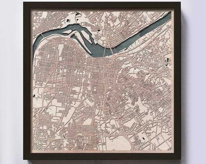 Louisville Wood Map - 5th Anniversary Gift - Custom Wooden Map Laser Cut Framed Maps Wall Art - Wedding Engagement Gift for Couple