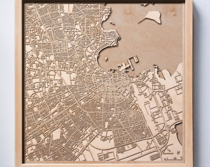 Doha Wooden Map -Laser Cut Wood Streets City Maps 3d Framed Minimal Minimalist Wall Art - Birthday Anniversary Christmas Wedding Gift