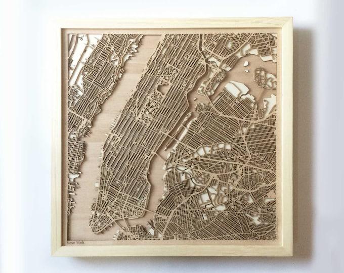 New York Wooden Map - Pinewood Laser Cut Streets City Maps 3d Framed Minimal Minimalist Wall Art Wood - Birthday Christmas Wedding Gift
