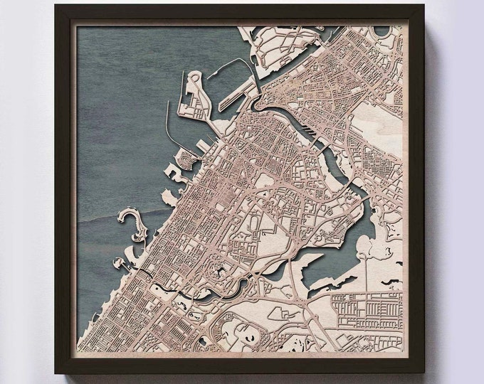 Dubai Wood Map - 5th Anniversary Gift - Custom Wooden Map Laser Cut Framed Maps Wall Art - Wedding Engagement Gift for Couple