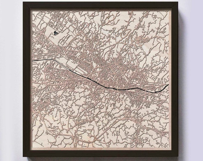 Florence Wood Map - 5th Anniversary Gift - Custom Wooden Map Laser Cut Framed Maps Wall Art - Wedding Engagement Gift for Couple