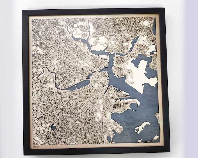 Boston Wood Map- Laser Cut Custom Map Streets City 3d Framed Wooden Maps Travel Wall Art - Birthday Christmas Gift Wedding Gifts