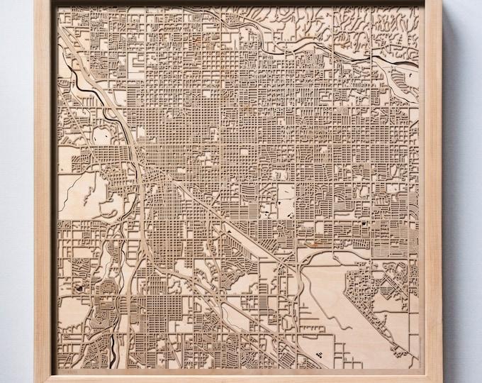 Tucson Wooden Map -Laser Cut Wood Streets City Maps 3d Framed Minimal Minimalist Wall Art - Birthday Anniversary Christmas Wedding Gift