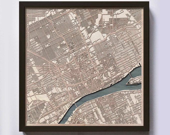 Detroit Wood Map - 5th Anniversary Gift - Custom Wooden Map Laser Cut Framed Maps Wall Art - Wedding Engagement Gift for Couple