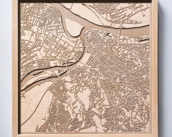Belgrade Wooden Map - Pinewood Laser Cut Streets City Maps 3d Framed Minimal Minimalist Wall Art Wood - Birthday Christmas Wedding Gift
