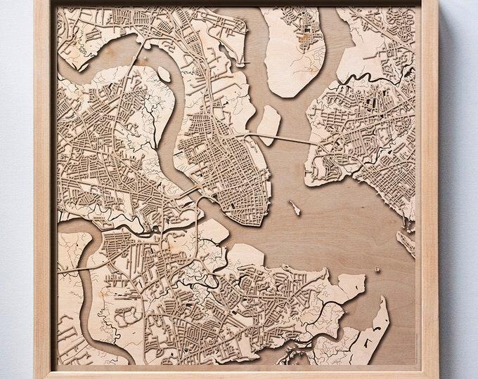 Charleston Wooden Map - Pinewood Laser Cut Streets City Maps 3d Framed Minimal Minimalist Wall Art Wood - Birthday Christmas Wedding Gift