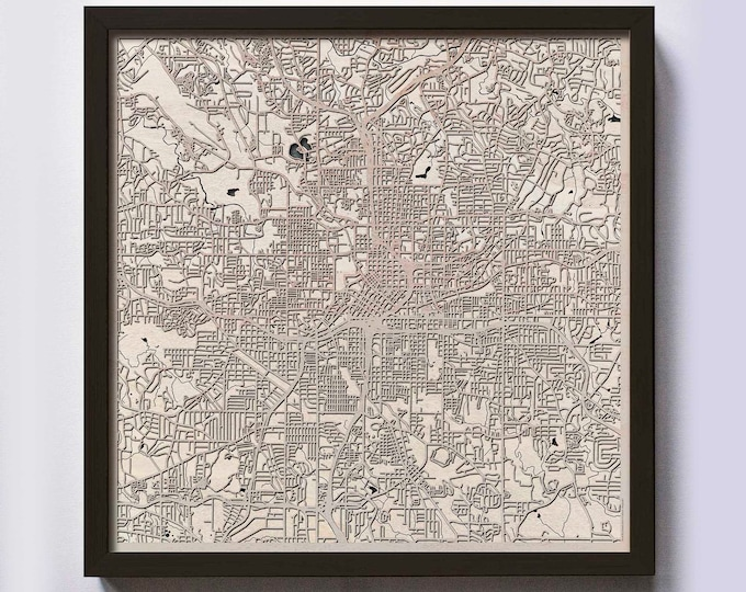Atlanta Wood Map - 5th Anniversary Gift - Custom Wooden Map Laser Cut Framed Maps Wall Art - Wedding Engagement Gift for Couple