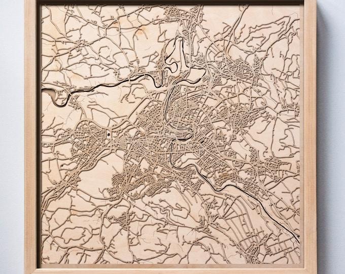 Bern Wooden Map -Laser Cut Wood Streets City Maps 3d Framed Minimal Minimalist Wall Art - Birthday Anniversary Christmas Wedding Gift