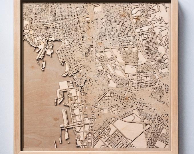 Jeddah Wooden Map - Pinewood Laser Cut Streets City Maps 3d Framed Minimal Minimalist Wall Art Wood - Birthday Christmas Wedding Gift