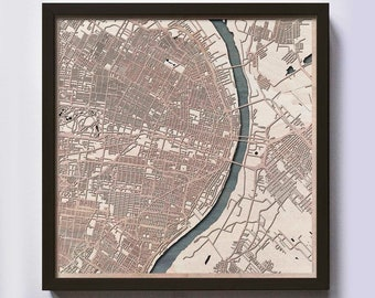 St Louis Wood Map - 5th Anniversary Gift - Custom Wooden Map Laser Cut Framed Maps Wall Art - Wedding Engagement Gift for Couple