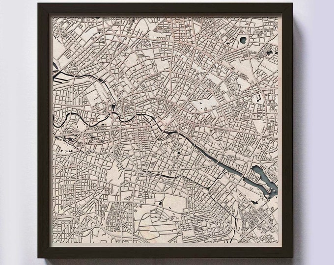 Berlin Wood Map - 5th Anniversary Gift - Custom Wooden Map Laser Cut Framed Maps Wall Art - Wedding Engagement Gift for Couple