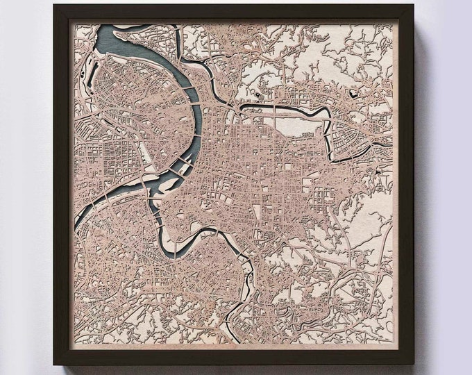Taipei Wood Map - 5th Anniversary Gift - Custom Wooden Map Laser Cut Framed Maps Wall Art - Wedding Engagement Gift for Couple