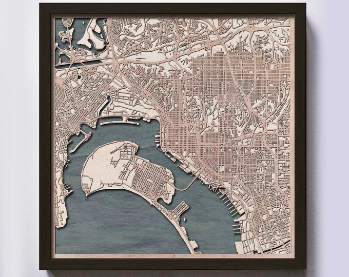 San Diego Wood Map - 5th Anniversary Gift - Custom Wooden Map Laser Cut Framed Maps Wall Art - Wedding Engagement Gift for Couple