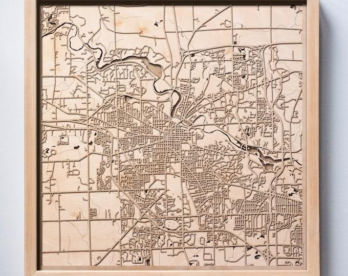 Ann Arbor Wooden Map -Laser Cut Wood Streets City Maps 3d Framed Minimal Minimalist Wall Art - Birthday Anniversary Christmas Wedding Gift