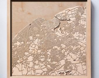 Havana Wooden Map -Laser Cut Wood Streets City Maps 3d Framed Minimal Minimalist Wall Art - Birthday Anniversary Christmas Wedding Gift