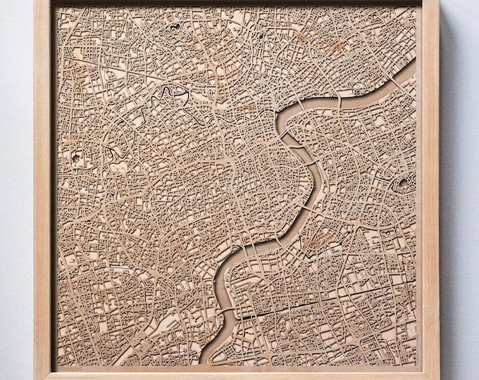 Shanghai Wooden Map - Pinewood Laser Cut Streets City Maps 3d Framed Minimal Minimalist Wall Art Wood - Birthday Christmas Wedding Gift