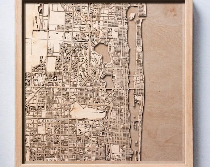 Palm Beach Wooden Map -Laser Cut Wood Streets City Maps 3d Framed Minimal Minimalist Wall Art - Birthday Anniversary Christmas Wedding Gift
