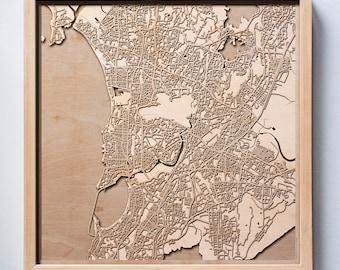 Mumbai Wooden Map - Laser Cut Wood Streets City Maps 3d Framed Minimal Minimalist Wall Art - Birthday Anniversary Christmas Wedding Gift