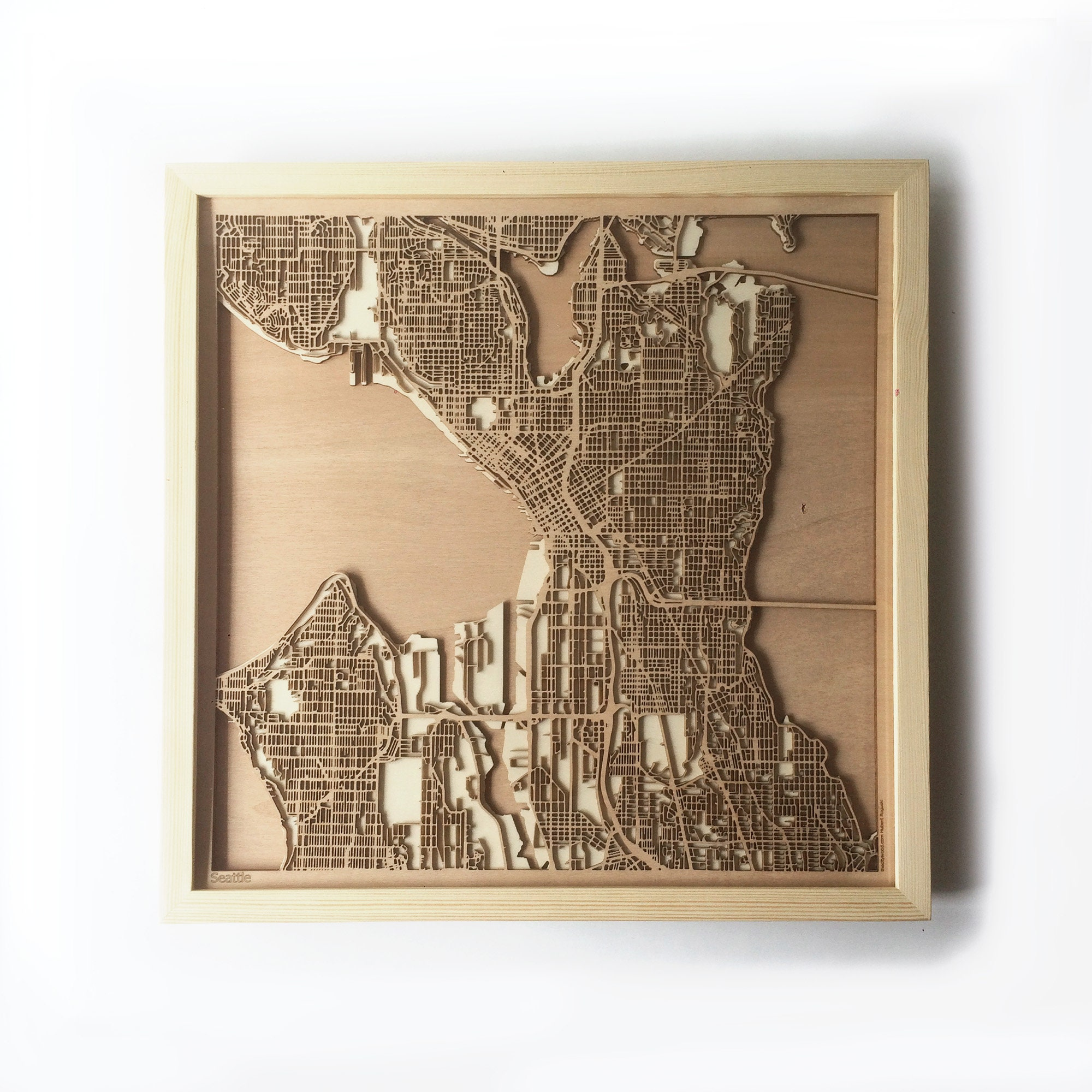 Seattle Wooden Map Pinewood Laser Cut Wood Streets City Maps 3d