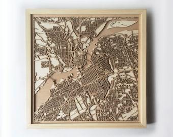 Ottawa Wooden Map - Pinewood Laser Cut Streets City Maps 3d Framed Minimal Minimalist Wall Art Wood - Birthday Christmas Wedding Gift