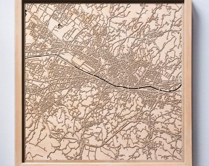 Florence Wooden Map -Laser Cut Wood Streets City Maps 3d Framed Minimal Minimalist Wall Art - Birthday Anniversary Christmas Wedding Gift