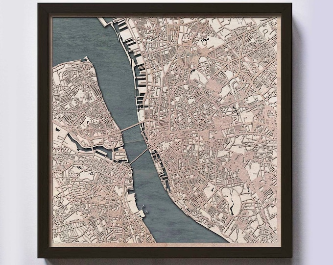 Liverpool Wood Map - 5th Anniversary Gift - Custom Wooden Map Laser Cut Framed Maps Wall Art - Wedding Engagement Gift for Couple