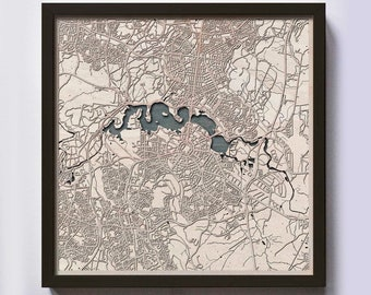 Canberra Wood Map - 5th Anniversary Gift - Custom Wooden Map Laser Cut Framed Maps Wall Art - Wedding Engagement Gift for Couple