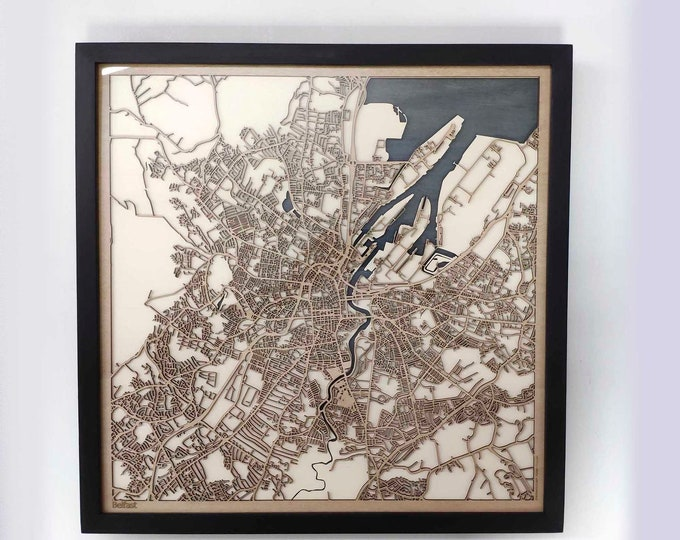 Belfast Wood Map - 5th Anniversary Gift - Custom Wooden Map Laser Cut Framed Maps Wall Art - Wedding Engagement Gift for Couple