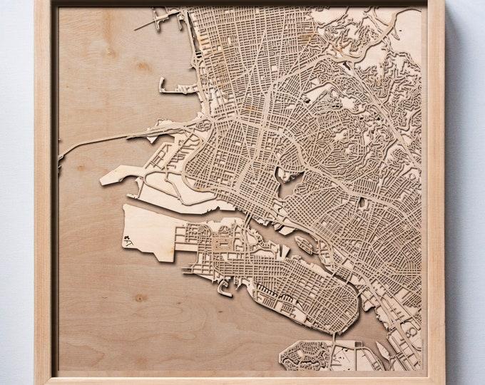 Oakland Wooden Map -Laser Cut Wood Streets City Maps 3d Framed Minimal Minimalist Wall Art - Birthday Anniversary Christmas Wedding Gift
