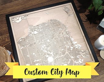 5th Anniversary Gift - Custom Wood Map - Any City - Laser Cut Engagement Gift for Him Her, Wedding Gift for Couple Craftsman