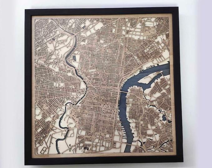 Philadelphia Wood Map - 5th Anniversary Gift - Custom Wooden Map Laser Cut Framed Maps Wall Art - Wedding Engagement Gift for Couple