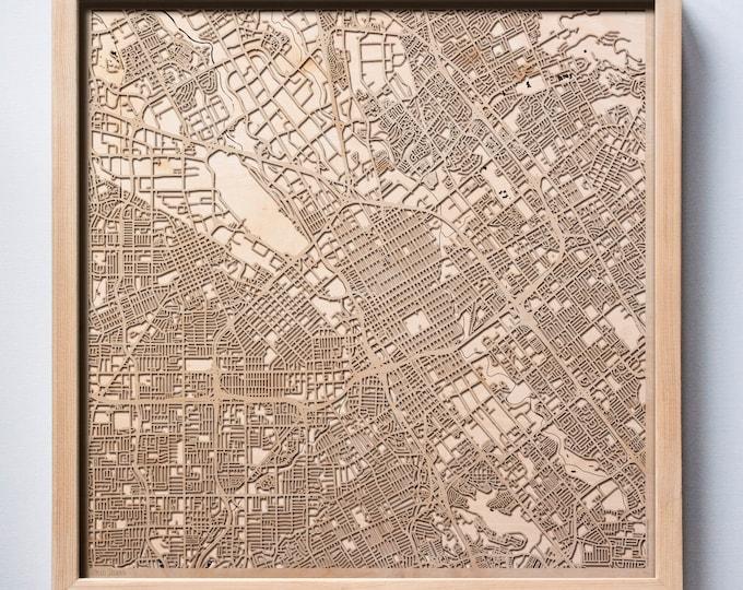 San Jose Wooden Map -Laser Cut Wood Streets City Maps 3d Framed Minimal Minimalist Wall Art - Birthday Anniversary Christmas Wedding Gift