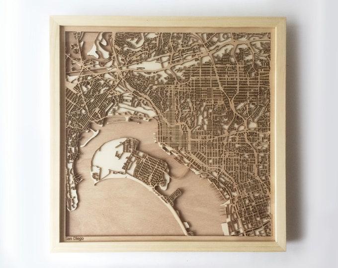 San Diego Wooden Map - Pinewood Laser Cut Wood Streets City Maps 3d Framed Minimal Minimalist Wall Art - Birthday Christmas Wedding Gift