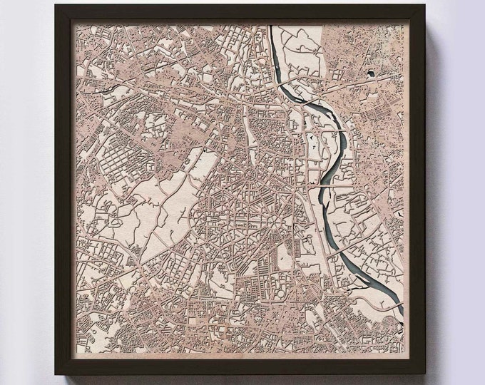 New Delhi Wood Map - 5th Anniversary Gift - Custom Wooden Map Laser Cut Framed Maps Wall Art - Wedding Engagement Gift for Couple