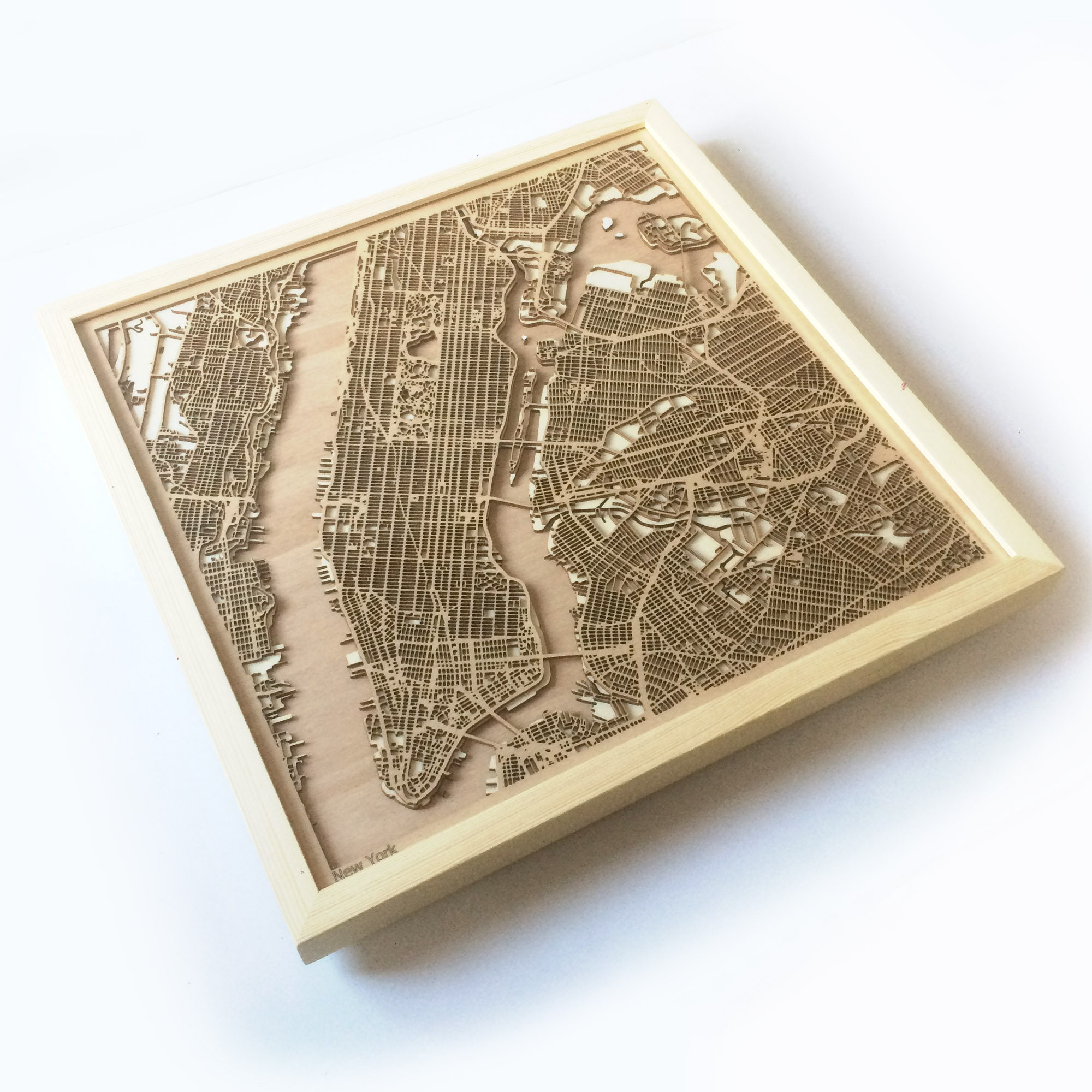 Map Of New York 3d.New York Wooden Map Pinewood Laser Cut Streets City Maps 3d Framed