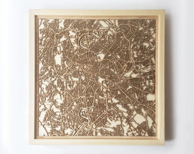 Rome Wooden Map - Pinewood Laser Cut Streets City Maps 3d Framed Minimal Minimalist Wall Art Wood - Birthday Christmas Wedding Gift