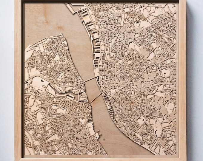 Liverpool Wooden Map -Laser Cut Wood Streets City Maps 3d Framed Minimal Minimalist Wall Art - Birthday Anniversary Christmas Wedding Gift