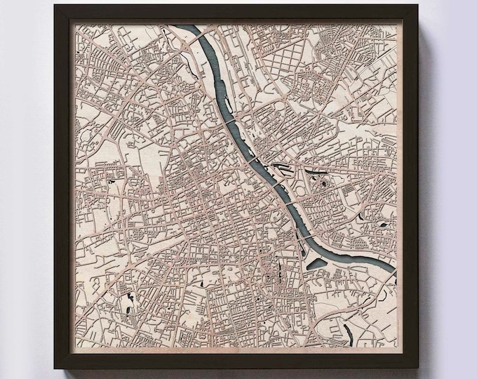 Warsaw Wood Map - 5th Anniversary Gift - Custom Wooden Map Laser Cut Framed Maps Wall Art - Wedding Engagement Gift for Couple