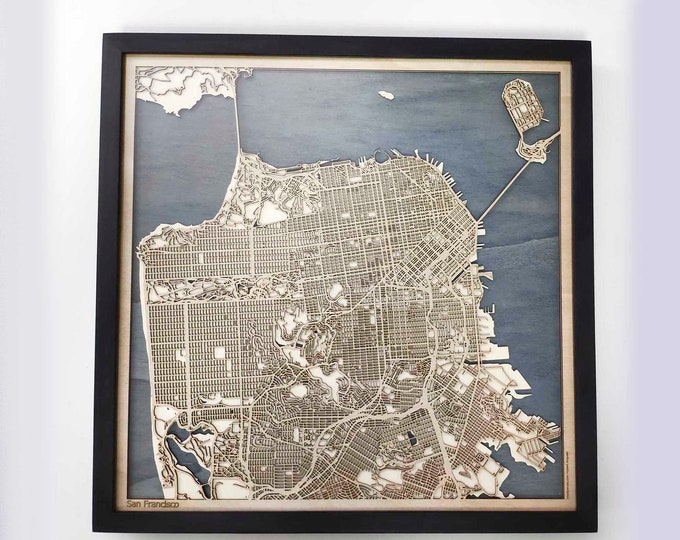 San Francisco Wood Map - 5th Anniversary Gift - Custom Wooden Map Laser Cut Framed Maps Wall Art - Wedding Engagement Gift for Couple