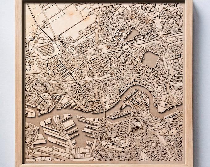 Rotterdam Wooden Map - Laser Cut Wood Streets City Maps 3d Framed Minimal Minimalist Wall Art - Birthday Anniversary Christmas Wedding Gift