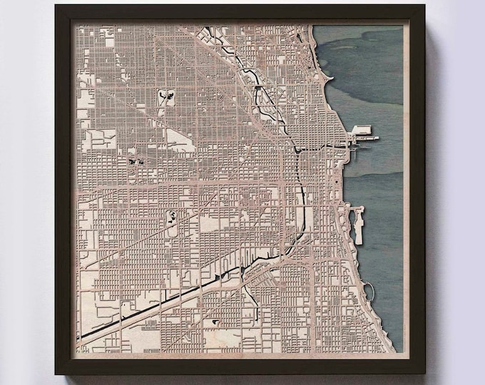 Chicago Wood Map - 5th Anniversary Gift - Custom Wooden Map Laser Cut Framed Maps Wall Art - Wedding Engagement Gift for Couple